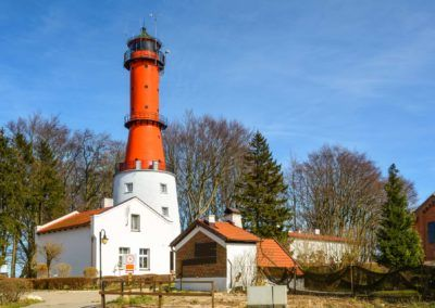 The lighthouse in the small village of Rozewie on the Polish seashore of the Baltic Sea. Poland. Europe.